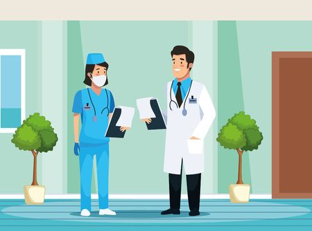nurse and doctor avatars characters vector illustration design