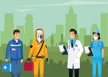 medical staff team work characters vector illustration design