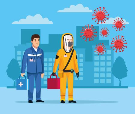 biohazard cleaning person with paramedic and covid19 particles vector illustration design