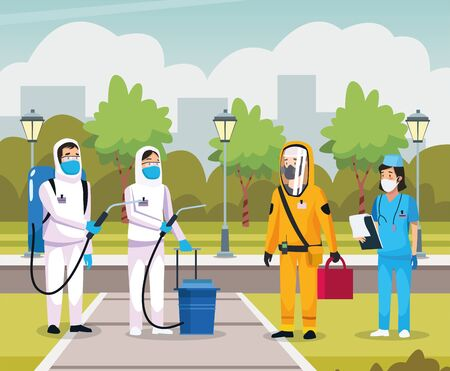 nurse with biosecurity cleaning person vector illustration design