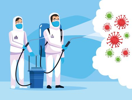biohazard cleaning persons with sprayer and covid19 particles vector illustration design
