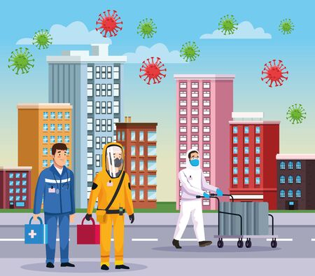 biohazard cleaning persons with paramedic and covid particles on the city vector illustration design Ilustracja