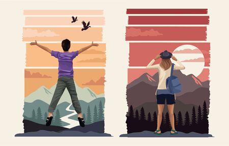 beautiful landscape with travelers couple scene vector illustration design