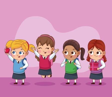 group of little students kids vector illustration design  イラスト・ベクター素材