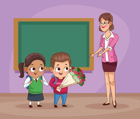 couple of little students kids with teacher in classroom vector illustration design