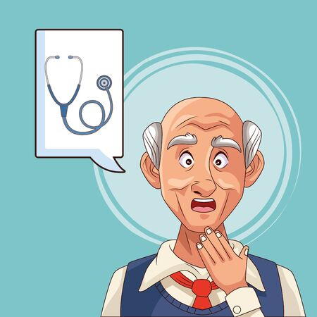 old man patient of alzheimer disease with stethoscope vector illustration Illustration