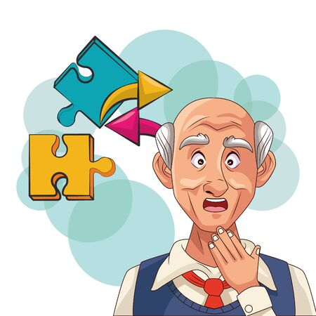 old man patient of alzheimer disease with puzzle pieces vector illustration