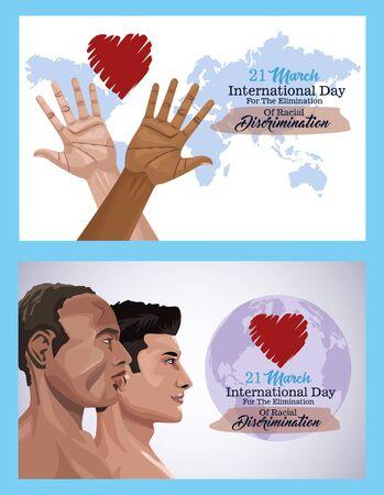stop racism international day poster with interracial men profiles vector design Stock Illustratie