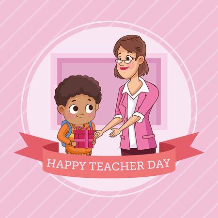 happy teacher day with little boy student vector illustration design Illustration