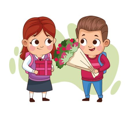 couple of little students kids with flowers bouquet vector illustration design