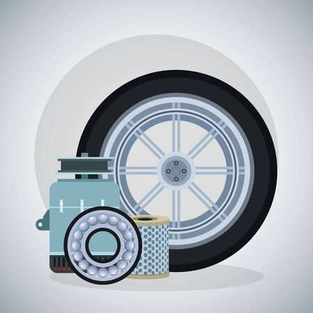 car tire with car alternator, brake disc and air filter over gray background, colorful design, vector illustration