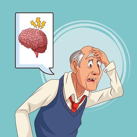 old man patient of alzheimer disease with speech bubble vector illustration Çizim