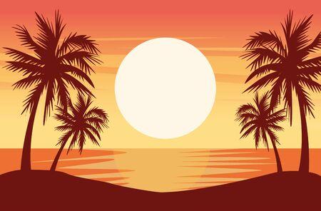 beautiful seascape with palms scene vector illustration design