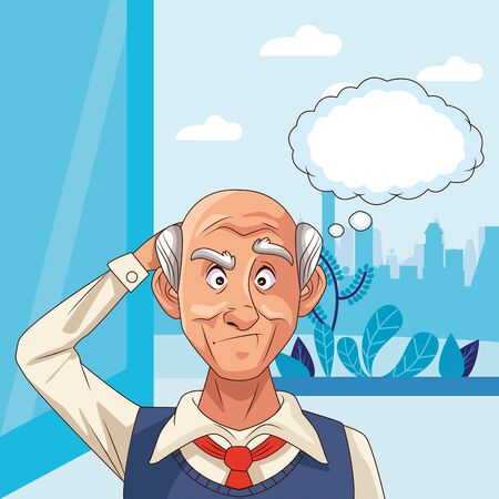 old man patient of alzheimer disease with speech bubble vector illustration Ilustrace