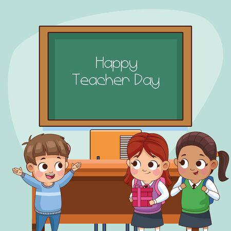 group of little students kids in classroom vector illustration design