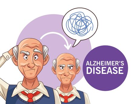 old men patients of alzheimer disease with speech bubbles and scribble vector illustration design Ilustrace