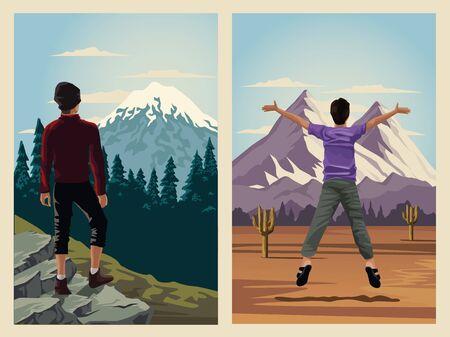 beautiful landscape with men travelers scene vector illustration design