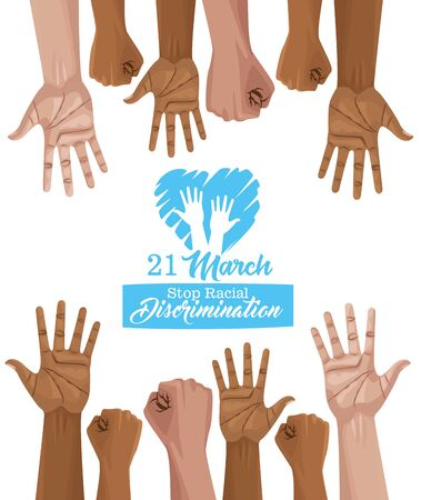 stop racism international day poster with vector illustration design