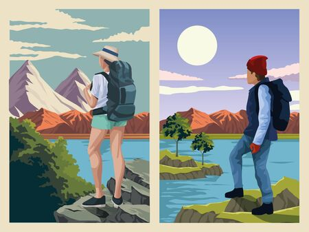 beautiful landscape with travelers couple scene vector illustration design Ilustração Vetorial