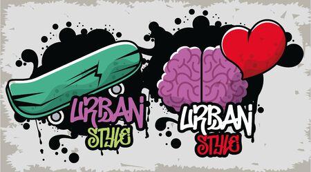 Graffiti-Poster im urbanen Stil mit Skateboard- und Gehirnvektor-Illustrationsdesign