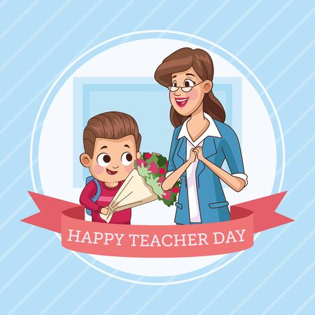 happy teacher day with little boy student vector illustration design