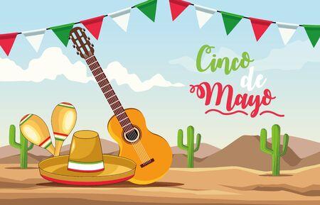 cinco de mayo celebration with guitar and hat desert scene vector illustration design