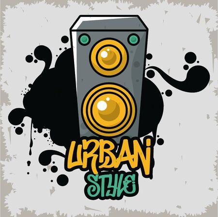 graffiti urban style poster with speaker vector illustration design Vektorgrafik