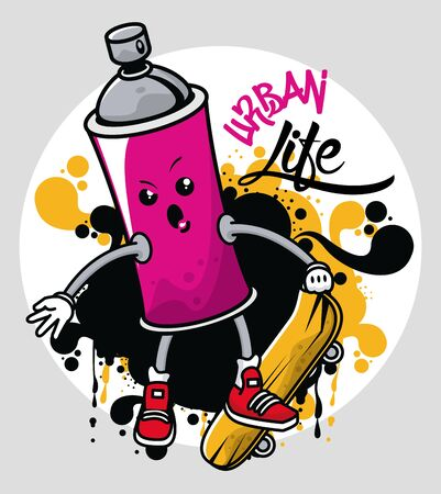 graffiti urban style poster with paint spray bottle character vector illustration design