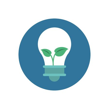 bulb light energy with leafs plant vector illustration design