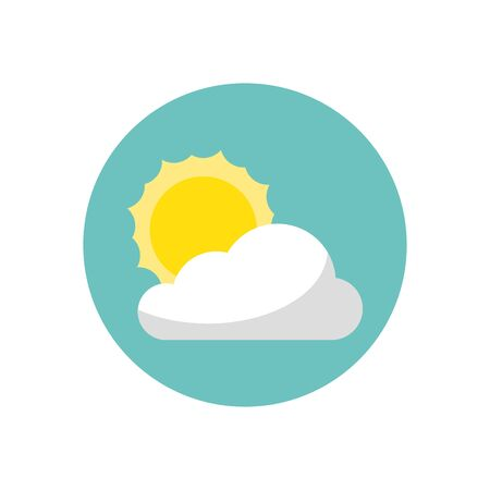 cloud with sun isolated icon vector illustration design