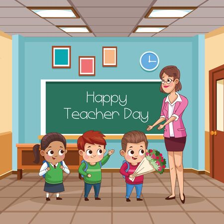 group of little students kids in the classroom vector illustration design