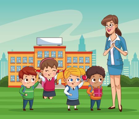 group of little students kids outdoor school vector illustration design  イラスト・ベクター素材