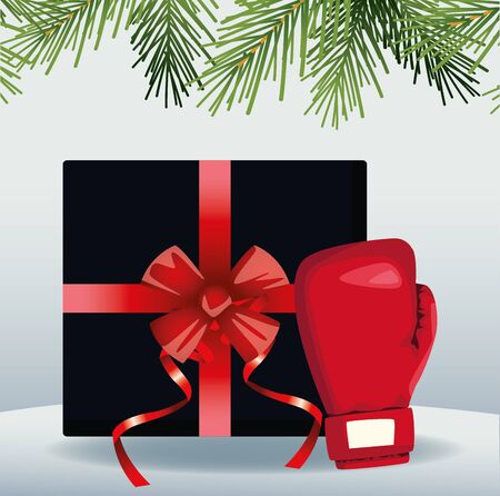 Boxing sale colorful design with gift box and boxing glove over gray background, vector illustration