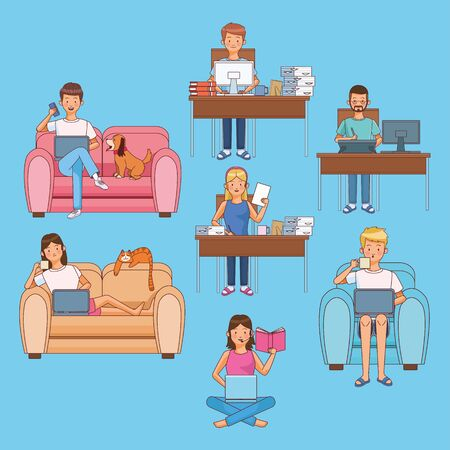 work at home workers characters vector illustration design