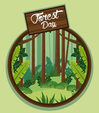 forest day landscape with wooden label in circular frame vector illustration design Ilustração