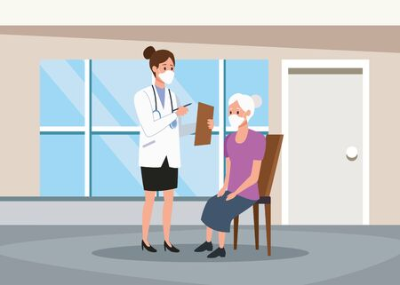 female doctor protecting elderly person characters vector illustration design