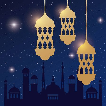 ramadan kareem card with golden lanterns and taj mahal vector illustration Illustration