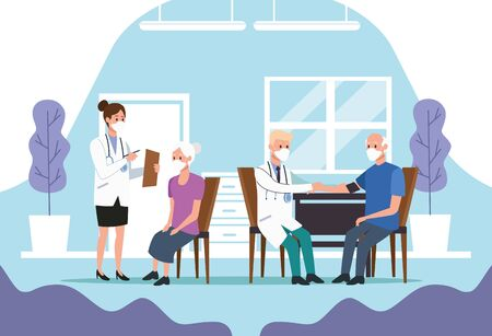medical staff protecting elderly characters vector illustration design Imagens - 143138181