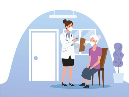 female doctor protecting elderly person characters vector illustration design Imagens - 143138170