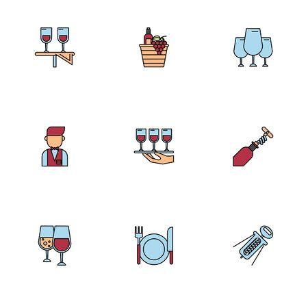 bundle of wine drink set icons vector illustration design  イラスト・ベクター素材