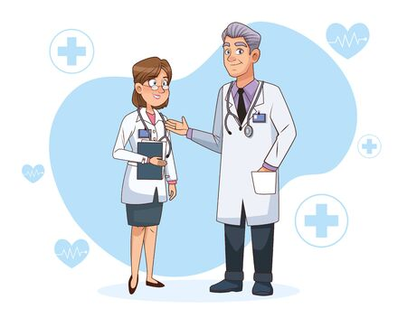 professional doctors couple avatars characters vector illustration design