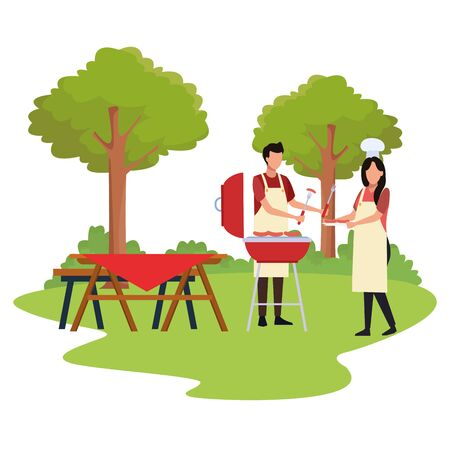 avatar woman and man cooking in a bbq grill outdoor over white background, colorful design , vector illustration Ilustração