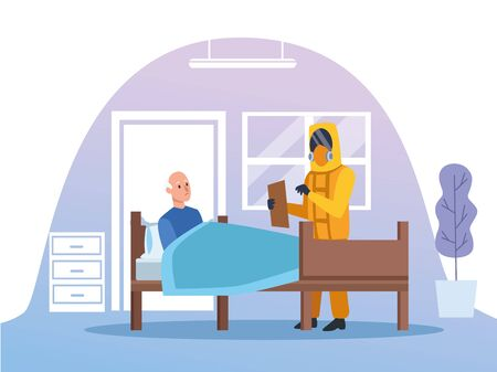 doctor with biohazard suit protecting elderly person vector illustration design Imagens - 143138302