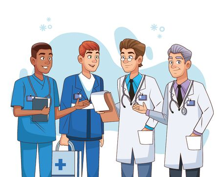 professional male doctors staff characters vector illustration design Vector Illustration