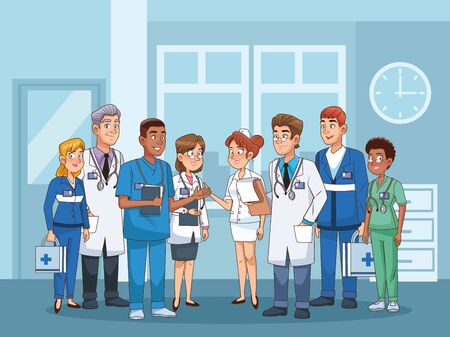 professional doctors staff in hospital characters vector illustration design
