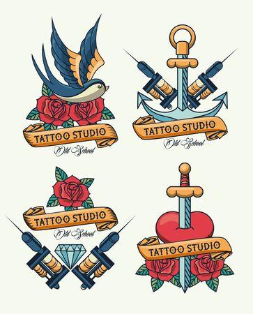 bundle of tattoos studio images artistics vector illustration design