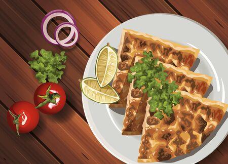 middle eastern food in wooden table vector illustration design