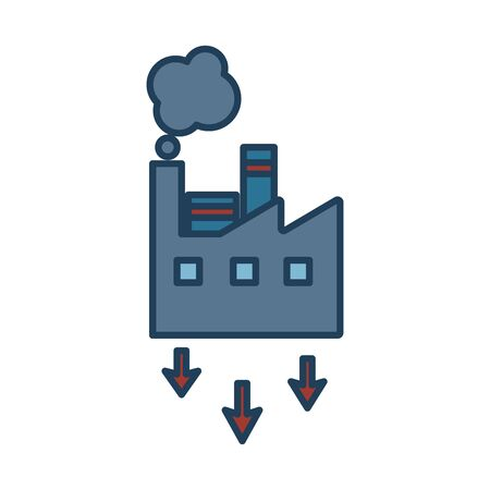 factory building with arrows down fill style icon vector illustration design
