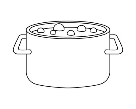 pot boiling water isolated icon vector illustration design
