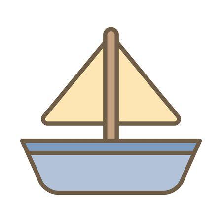 ship boat child toy block style icon vector illustration design
